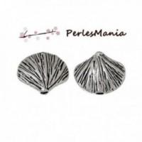 PAX environ 50 perles intercalaires COQUILLE SAINT JACQUES metal couleur ARGENT ANTIQUE S1171642