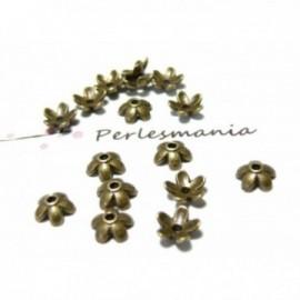 50 COUPELLES CALOTTES PETITES FLEURS metal couleur BRONZE ( S1124749 )