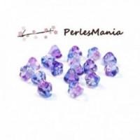 PAX 10 PERLES FLEURS en verre Bleu et violet 4mm S1190924