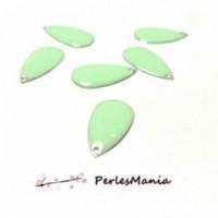 20 SEQUINS EMAILLES FORME GOUTTE Vert Pastel A009 21mm, DIY