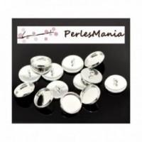 perlesmania.com BN118895AV Pax 10 Supports Boutons de Manchettes 14mm Argent Vif qualit/é Laiton