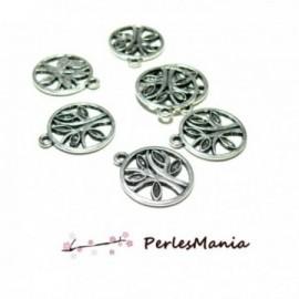 PAX 30 pendentifs breloque ARBRE dans Cercle couleur ARGENT ANTIQUE S1195877