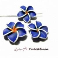 10 fleurs fimo BLEU 32mm ref 2G3410