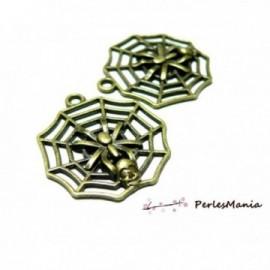 PAX 10 pendentifs breloque bronze toile d'araignée 2Y6317