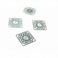 10 Estampes pendentifs multiconnecteur filigrane Carre Mandala Argent Vif de 12mm C757
