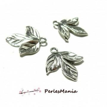 PAX 20 Pendentifs Trois feuilles metal couleur Argent Antique S1184825