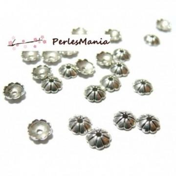 115024140119 PAX 100 calottes coupelles embouts Fleurs Coquille 6mm metal couleur Argent Antique