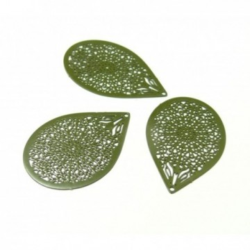 4 Estampes pendentif filigrane Goutte Kaki de 27mm, C3365