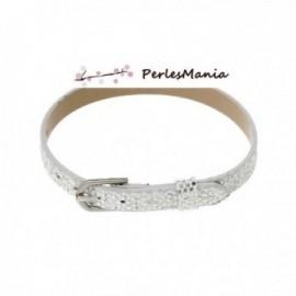 2 bracelets simili cuir EFFET DISCO ARGENT 22 cm ( S1158921 )