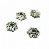 H1122AA PAX 100 petites calottes coupelles style Fleurs 7mm metal couleur Argent Antique