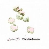 160109151807RO PAX 20 sequins Résine style Emailles Mini Coeur Rose 7 par 8mm