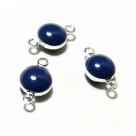 150717113850 PAX 10 pendentifs connecteur cercle resine style emaille Bleu Marine couleur NO3 qualité Laiton