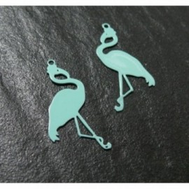 AE117657 Lot de 4 Estampes pendentif filigrane Flamingo Flamant Rose Vert d'eau 28mm