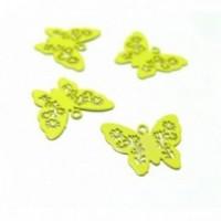 AE112861 Lot de 6 Estampes pendentif connecteur filigrane Papillon Jaune 14mm