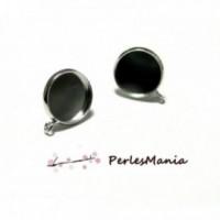 160613111922 PAX 10 Supports de Boucle d'oreille puce avec Accroche 12mm Argent Platine Qualité Laiton