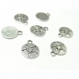 S1164197 PAX 50 pendentifs breloque ETOILE Sur Medaille metal couleur Argent Antique
