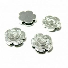 140701182801 PAX 10 passants Slides Fleurs métal couleur Argent Platine pour cordons lanieres
