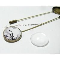 20 pièces:10 broches fibule 18mm bronze et 10 cabochons en verre