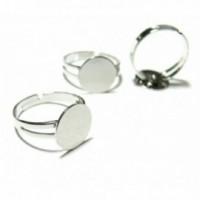 BN114173 PAX 10 supports de bague plateau lisse anneau double 8mm metal Argent Platine Qualité Laiton