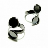 170420140753 PAX 5 supports bague 10mm Double Cabochons metal couleur Gun Metal
