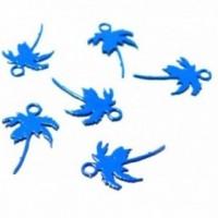 AE119109 Lot 6 Estampes pendentif filigrane Palmier couleur Bleu Roi de 7 par 12mm
