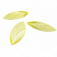 AE118987 Lot de 4 Estampes pendentif filigrane Grand Ovale Oblong Jaune 15 par 40mm