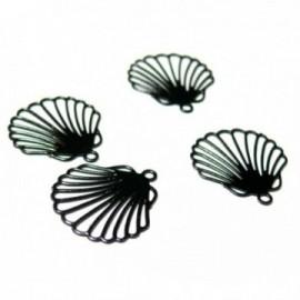 AE116777 Lot de 6 Estampes pendentif filigrane Coquille Saint Jacques Noire 12 par 15mm