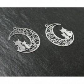 AE116189 Lot de 4 Estampes pendentif filigrane Chats et Lune Argent Vif 20 par 25mm