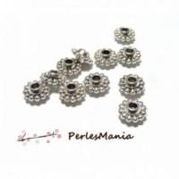 H11736 PAX 20 pendentifs perles intercalaire style fleur 9mm métal couleur Argent Antique