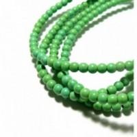 HG106402B 1 fil de 110 perles Turquoise reconstituée Howlite couleur Verte 4mm