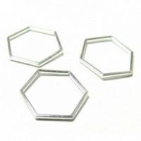 PS110117604 PAX 25 pendentifs connecteur Hexagone 23mm métal couleur Argent Vif