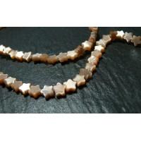 4 perles étoiles oeil de chat rose saumon 6 par 3 mm