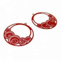 PS110146651 PAX de 4 Estampes pendentif filigrane Cercle fleur d'osaka 42mm Rouge