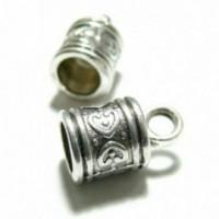 H111382Y PAX 10 coupelles caps embouts métal couleur Argent Antique