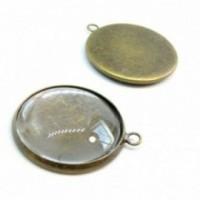 20 pièces: BN1123304 PAX 10 supports de pendentif attache ronde 12mm Laiton couleur Bronze et 10 cabochons