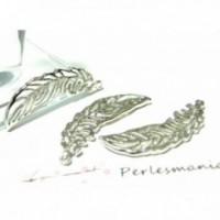 A13009 Lot de 10 pieces pendentif plume feuille métal couleur Argent Platine