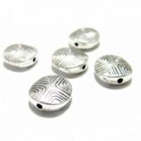 Lot de 20 perles ovale intercalaires 2A1440 métal couleur Argent Antique