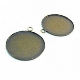 BN1124053 PAX 10 Supports de pendentif PLATEAU attache ronde 10mm laiton couleur BRONZE