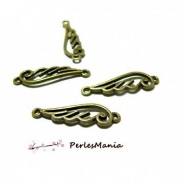 H538111 PAX 20 pendentifs breloque CONNECTEURS ailes métal couleur BRONZE