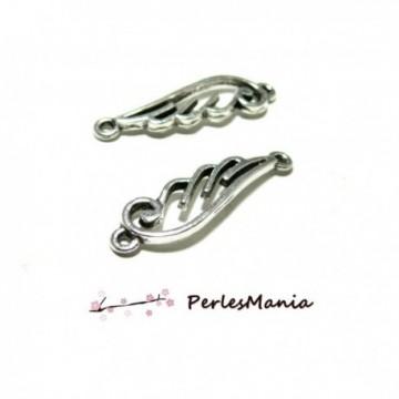 H538111 PAX 20 pendentifs breloque CONNECTEURS ailes métal couleur Argent Antique