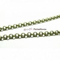 PCHS068 PAX 5m chaine Rollo metal couleur bronze maille 3 par 1mm pour création de colliers