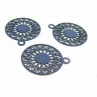 AE113739 Lot de 6 Estampes pendentif filigrane Mandala 15 par 17mm Bleu Petrole