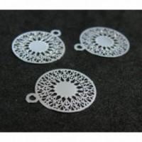 AE113739 Lot de 6 Estampes pendentif filigrane Mandala 15 par 17mm Argent Vif
