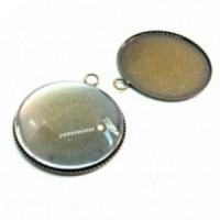 BN1124055 20 pieces: PAX 10 Supports de pendentif PLATEAU attache ronde 14mm Bronze 10 cabochons