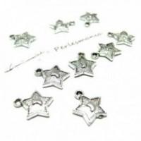 Lot de 20 pieces ref 2B3310 pendentif lune étoile métal couleur Argent Antique