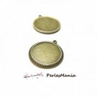 10 pendentifs ARTY DOUBLE PICOT 25mm H6711 BRONZE