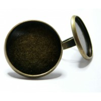 10 Supports de bague camé cabochon bronze 23mm A