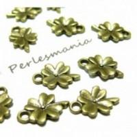 Lot de 50 pendentifs Fleur, Trèfle métal couleur BRONZE 2A8209