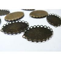 10 Supportsde pendentif ovale vague 30 par 40 mm BR