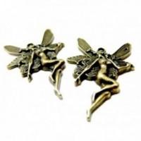Lot de 10 pendentifs breloque grandes fees métal couleur Bronze ref A1802